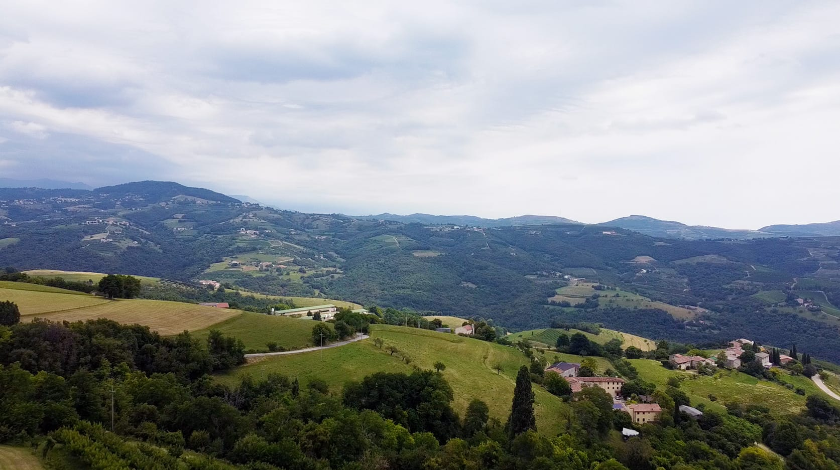 Lessinia foto aerea prato verde